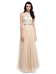 Sheath / Column High Neck Floor Length Satin Tulle Prom Formal Evening Dress with Beading Pearl Detailing by TS Couture®