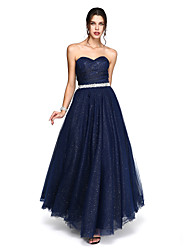 Ball Gown Sweetheart Ankle Length Tulle Formal Evening Dress with Beading Sash / Ribbon Side Draping by TS Couture®