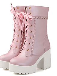 Women's Boots Spring / Fall / Winter Fashion Boots Leatherette/ Casual Chunky Heel  / Lace-up Black / Pink / White
