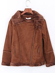cheap -Women's JacketsSolid Shirt Collar Long Sleeve Fall Black / Brown Special Fur Types Medium