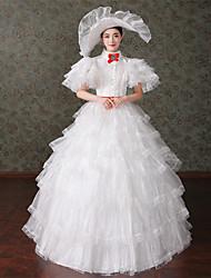 billige -Rokoko Victoriansk Kostume Dame Kjoler Festkostume Maskerade Balkjole Vintage Cosplay Blonde Bomuld Lang Længde Balkjole Plusstørrelser Customized / Blomstret