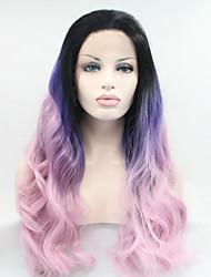 economico -Capelli sintetici Parrucche Onda naturale Attaccatura dei capelli naturale Parrucca naturale Viola