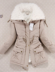 cheap -Women's Regular Padded Coat,Cute Casual Daily Solid-Cotton Cotton Long Sleeves