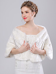 Faux Fur Imitation Cashmere Wedding Women's Wrap With Feathers / fur Shrugs