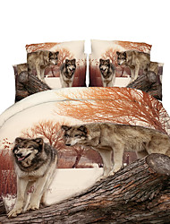 3D(random pattern) Duvet Cover Sets 4 Piece Polyester 3D Reactive Print Polyester Full 4pcs (1 Duvet Cover, 1 Flat Sheet, 2 Shams)