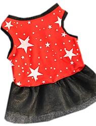 Chat Chien Robe Vêtements pour Chien Eté Printemps/Automne Etoiles Décontracté / Quotidien Noir Rouge