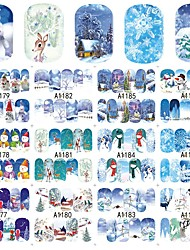 12 designs ,12 different images Nail Art Sticker Decalcomanie trasferimento di acqua makeup Cosmetic Nail Art Design