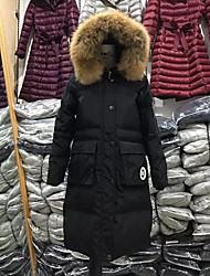 Damen Daunen Mantel,Lang Einfach Lässig/Alltäglich / Übergröße Solide-Polyester Weiße Entendaunen Langarm Schwarz