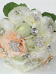 economico -Bouquet sposa Tondo Rose Peonie Bouquet Matrimonio Partito / sera Raso Strass 20 cm ca.