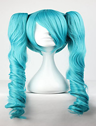Fashion Master Green Mixed Vocaloid Miku 65cm Long Wavy Braided Synthetic Girl's Hair Cosplay Wigs