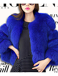 cheap -Women's Casual/Daily Simple Fur Coat,Solid Long Sleeve Winter Blue / Red / Gray / Purple Fox Fur
