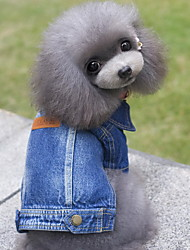 cheap -Dog Denim Jacket/Jeans Jacket Dog Clothes Jeans Blue Denim Costume For Pets Men's Women's Cute Cowboy Fashion