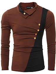 Tee-shirt Hommes,Couleur Pleine Décontracté / Quotidien simple Automne / Hiver Manches Longues Col Roulé Marron / Gris Coton Fin