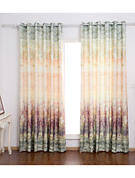 Rod Pocket Grommet Top Tab Double Pleat Two Panels Curtain Mediterranean Print Leaf Living Room Poly Cotton Blend Material