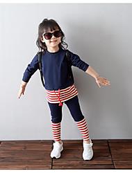 abordables -Ensemble de Vêtements Fille Quotidien Rayé Coton Printemps Automne Manches 3/4 A Rayures Bleu marine