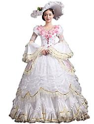abordables -Victorien Rococo Costume Femme Robes Costume de Soirée Bal Masqué Vintage Cosplay Dentelle Coton Poète Longueur Sol Long