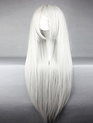 American Style High Quality Synthetic Vocaloid Haku Silvery White Long Straight Cosplay Wigs