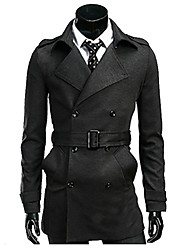 cheap -Men's Cotton Trench Coat - Solid Colored