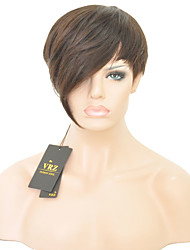 Недорогие -Короче человеческие волосы монолитным парики короткие прямые бразильские Hiar парики для женщин черный цвет 1b