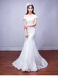 Mermaid / Trumpet Off-the-shoulder Floor Length Tulle Wedding Dress with Beading Appliques by LAN TING BRIDE®