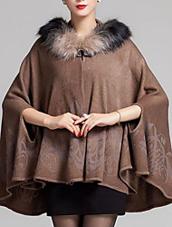 Women's Going out / Casual/Daily Vintage Cloak/Capes,Print Hooded ¾ Sleeve Fall / Winter Blue / Brown Wool Medium