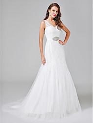 Linea-A A V Strascico di corte Di pizzo Tulle Vestito da sposa con Perline Fascia / fiocco in vita Bottoni di LAN TING BRIDE®