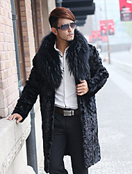 cheap -Men's Daily / Formal / Work Casual / Street chic Coat Solid Fur collar Long Sleeve Winter Faux Fur Black Thick