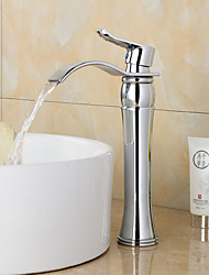 abordables -robinet évier de salle de bain - pré-rinçage / cascade / robinetterie de salle de bain chrome à mélangeurs à une poignée