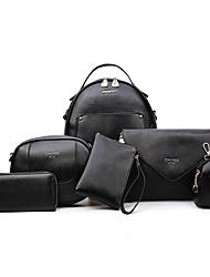 preiswerte -Damen Taschen PU Bag Set Reißverschluss für Normal Draussen Ganzjährig Blau Weiß Schwarz Silber Rosa
