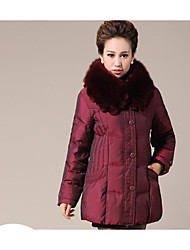 Women's Long Padded Coat,Simple Plus Size Solid-Cotton Polypropylene Long Sleeves Shirt Collar