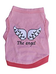 cheap -Cat Dog Shirt / T-Shirt Dog Clothes Casual/Daily Angel & Devil Purple Red Green Pink Costume For Pets