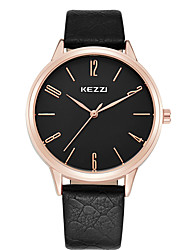 cheap -KEZZI Couple's Wrist Watch Quartz Casual Watch Cool Leather Band Analog Casual Fashion Black / White / Brown - White Black Brown