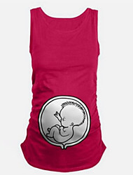 cheap -Maternity Daily Cute Summer Tank TopSolid Round Neck Sleeveless Blue / Red / Black Cotton / Spandex Thin