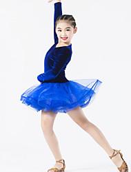 Latin Dance Dresses Performance Spandex / Polyester / Organza / Velvet Ruffles 1 Piece Long Sleeve Natural Dress