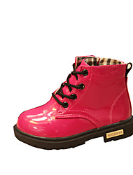 Girl's Boots Winter Comfort PU Outdoor / Casual Flat Heel Lace-up Black / Yellow / Pink / Peach Walking