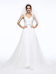 Linha A Com Alças Finas Cauda Corte Organza Vestido de casamento com Miçangas Faixa / Fita Botão Cruzado Franzido de LAN TING BRIDE®