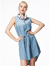 HEARTSOUL Women's Holiday Sexy Denim Dress,Solid Shirt Collar Knee-length Sleeveless Blue Cotton Summer Mid Rise Micro-elastic Medium