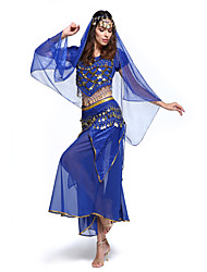 cheap -Belly Dance Outfits Women's Performance Chiffon Sequins 4 Pieces Top&Skirt&Waist belt&Head veil
