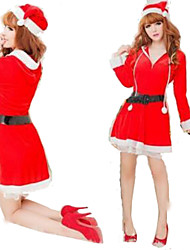 Female Christmas Festival/Holiday Halloween Costumes Red Solid