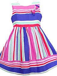 Robe Fille de Rayé Décontracté / Quotidien Coton Eté / Printemps / Automne Multicolore