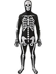 cheap -Cosplay Costumes Skeleton/Skull Halloween White / Black Print Cotton Leotard/Onesie