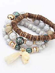 Women European Style Fashion Ethnic Multilayer Cute Elephant Beaded Strand Bracelet