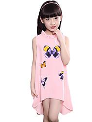 baratos -Para Meninas Vestido Casual Verão Algodão Outros Sem Manga Floral Branco Rosa claro