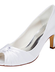 cheap -Women's Shoes Stretch Satin Spring Summer Heels Stiletto Heel Peep Toe Bowknot for Wedding Party & Evening White Ivory