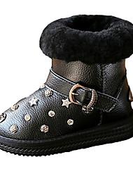 Girl's Boots Fall Winter Comfort PU Casual Flat Heel Zipper Black Silver Walking