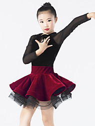 abordables -Robes Femme Enfant Spectacle Elasthanne Polyester Tulle Velours Volants Nœud papillon Manche longue Taille moyenne