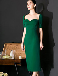 cheap -MASKED QUEEN  Women's Formal Sexy / Casual Sheath DressSolid Sweetheart Knee-length  Sleeve Green Nylon