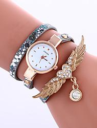 baratos -Mulheres Relógio Casual / Relógio de Moda / Bracele Relógio Com Strass / asa / / PU Banda Flor / Heart Shape / Pontos Preta / Azul / Vermelho