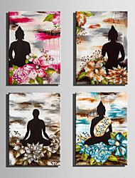 cheap -People Floral/Botanical European Style, Four Panels Canvas Vertical Print Wall Decor Home Decoration
