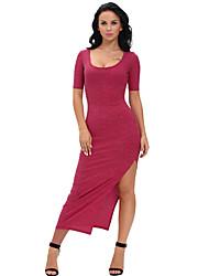 Moulante Robe Femme Soirée Sexy,Couleur Pleine Col Arrondi Midi Manches Courtes Rouge / Gris Polyester / Spandex Eté Taille Haute